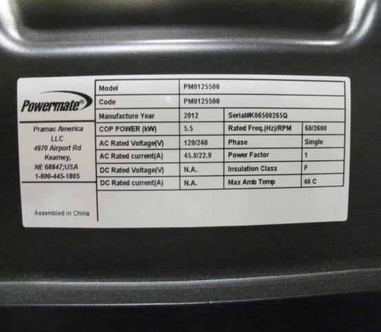 Powermate information plate on rear of generator