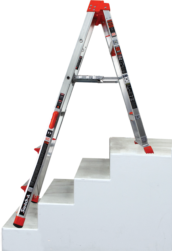 Switch-it stepstool /stepladder in the staircase-ready stepladder configuration