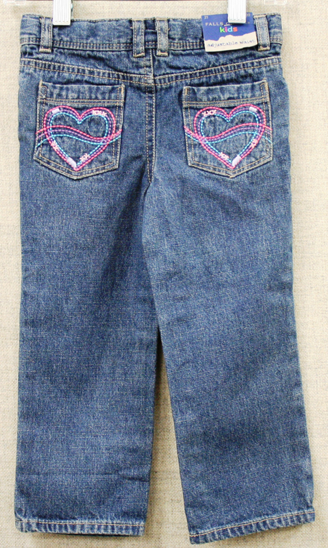 Falls Creek Kids jeans with hearts on rear pockets