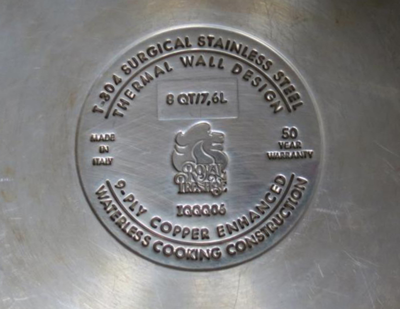 "Recalled pots and pans have ""Thermal Wall"" and ""9-Ply"" on the bottom."