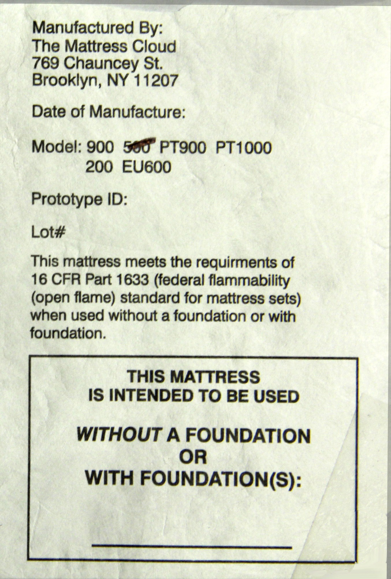 Federal tag on recalled mattresses