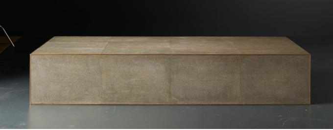 Smythson Shagreen rectangle coffee table in smoke and brass
