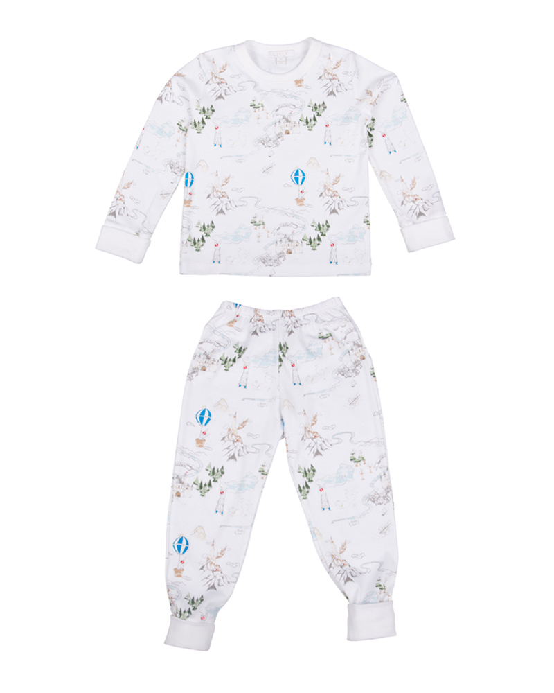 Children's two-piece pajama set in prince land blue print