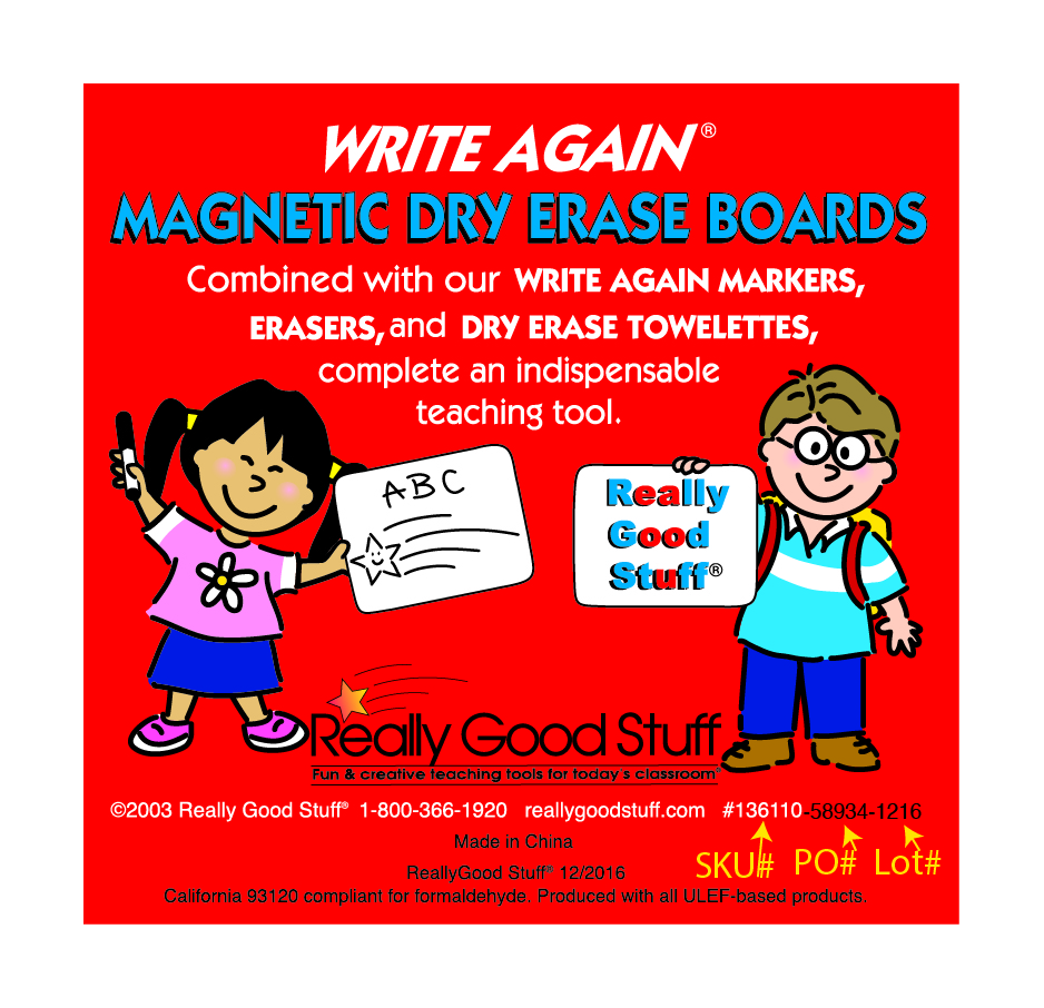 Write Again dry erase board label with SKU and lot numbers