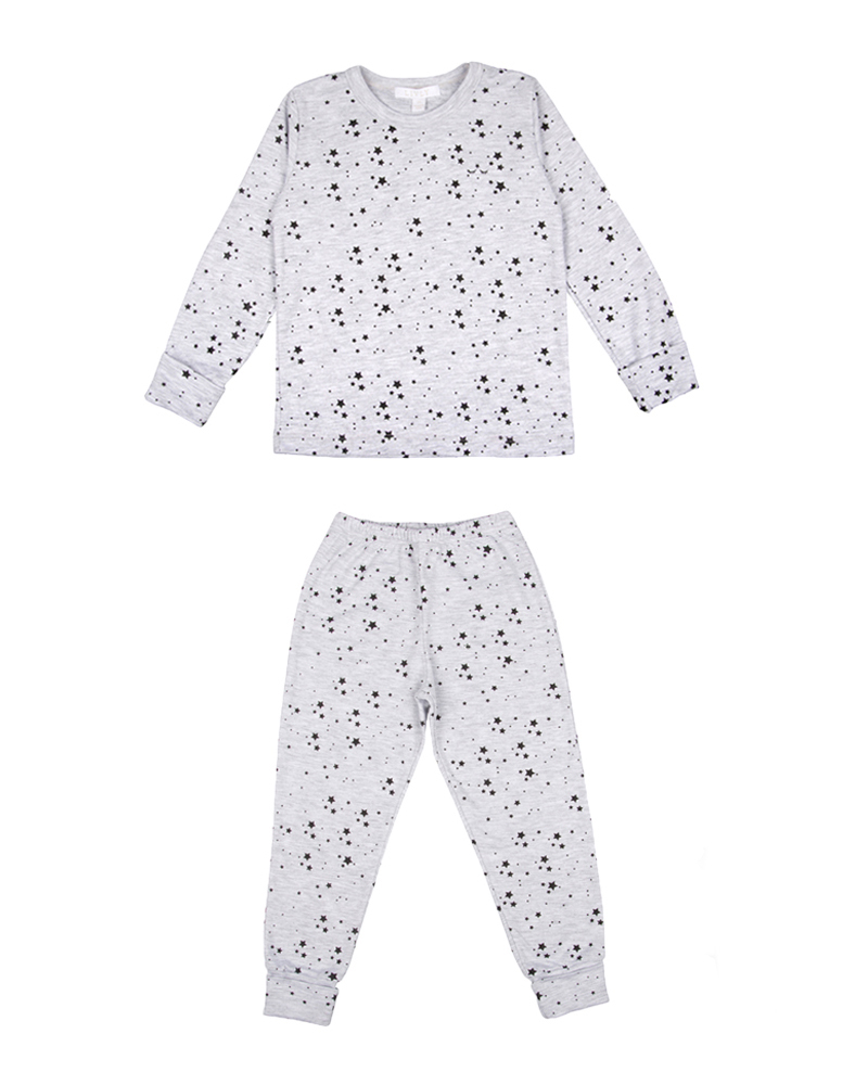 Children's two-piece pajama set in grey and black stars print