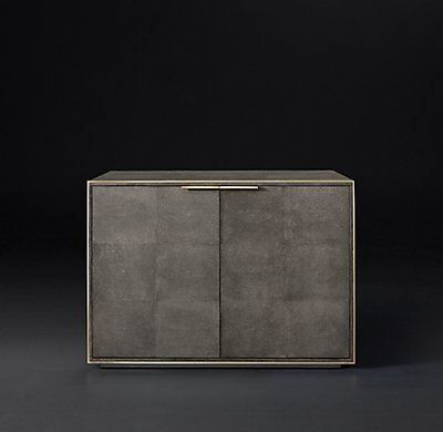 Smythson Shagreen two-door sideboard in smoke and steel