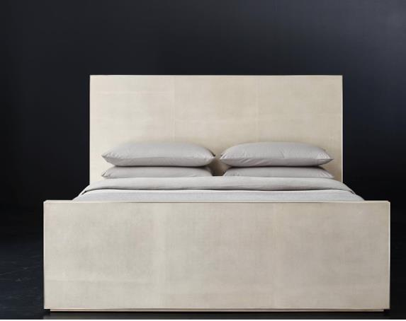 Smythson Shagreen bed with footboard in dove and pewter