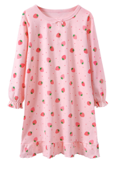 Recalled Booph children's nightgown – long sleeve, pink with strawberries