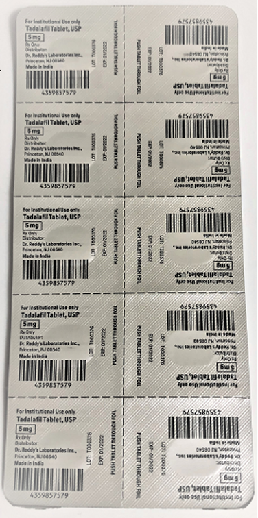 Recalled Dr. Reddy's Tadalafil Tablets 5 mg