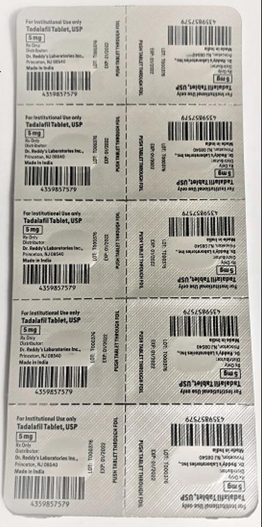 Recalled Dr. Reddy's Tadalafil Tablets 5 mg