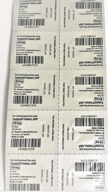 Recalled Dr. Reddy's Tadalafil Tablets 20 mg