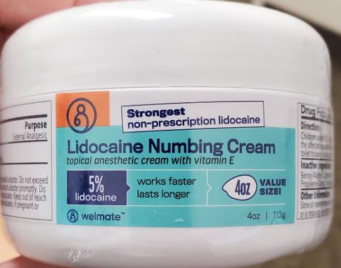 Recalled Welmate Lidocaine Numbing Cream