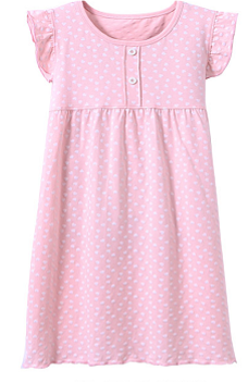Recalled Auranso Official children's nightgown – short sleeves,  pink with white heart print
