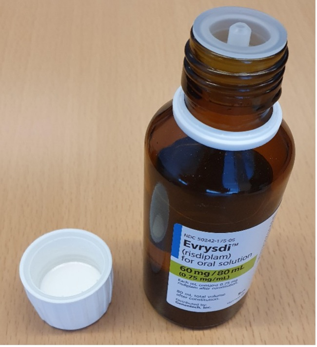 Recalled prescription drug with press-in bottle adapter