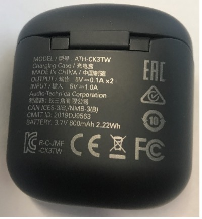 Recalled Audio-Technica Wireless Headphones (Model ATH-CK3TW) charging case – rear view
