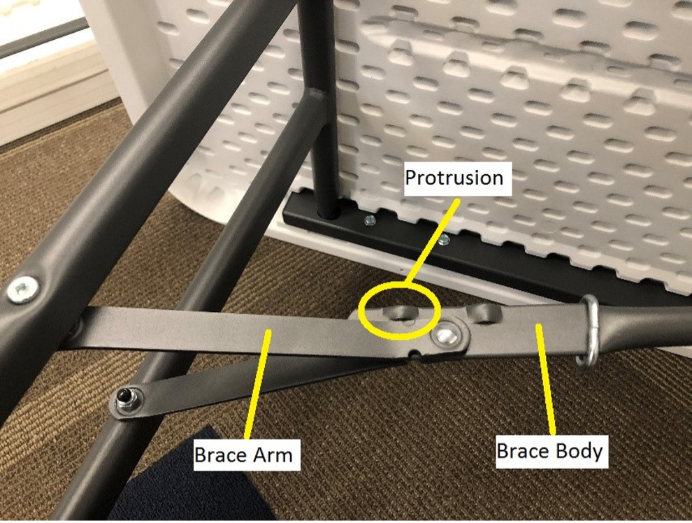 Locations of the brace arm, brace body and protrusion.