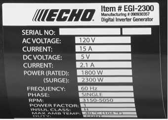 Echo 2300-Watt Generator Data Label