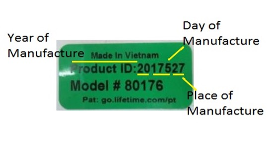 A green product ID sticker showing the year and chronological day of manufacture (Example: June 23, 2020 = 20175), place of manufacture (27 = Vietnam) and model number  is located on the underside of the table.