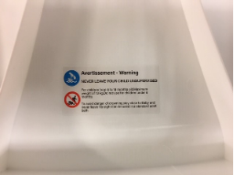 Warning Sticker on Recalled BATTOP Foldable Infant Bath Seats