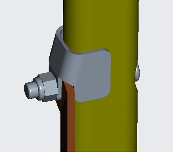 The repair bracket can be installed on the table leg with existing hardware to prevent over-rotation of the brace arm.