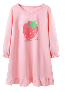 Recalled Booph children's nightgown – long sleeves, pink with strawberry