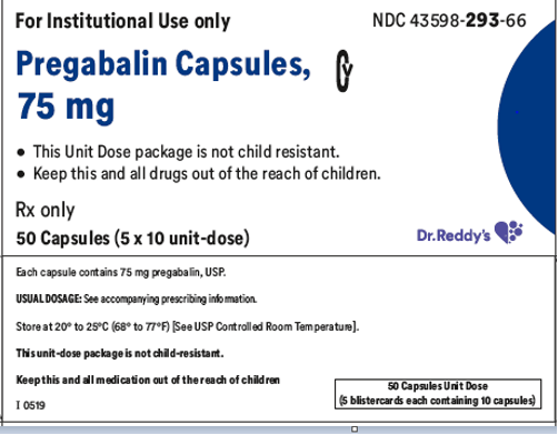 Recalled Dr. Reddy's Pregabalin Capsules 75 mg