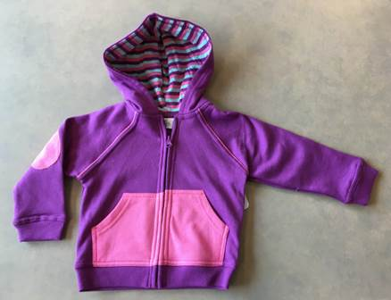 Purple/pink zipper hooded sweatshirt