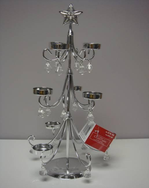 image of Silver Tree Tealight Candle Holders