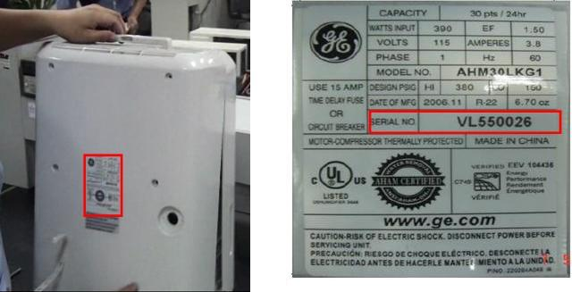ge and professional series brand dehumidifiers recalled due to fire hazard. Black Bedroom Furniture Sets. Home Design Ideas