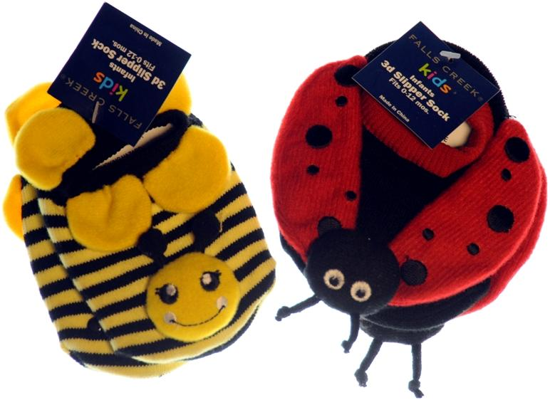 image of Bumble Bee and Lady Bug Infant Slipper Socks