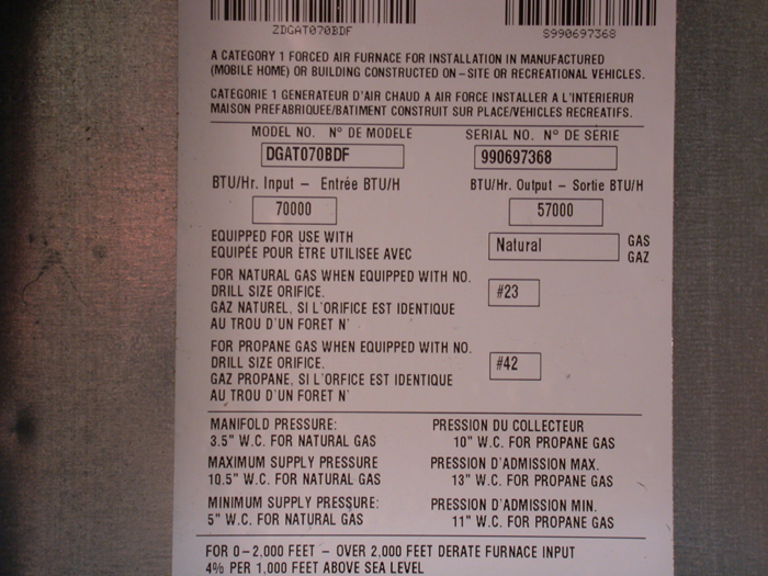 Coleman, Coleman Evcon and Red T Gas Furnaces for Manufactured Homes Data Tag
