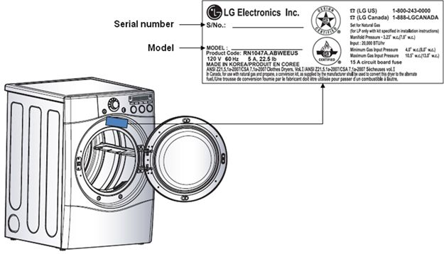 Both LG and Kenmore Elite Dryers' Model and Serial Numbers are in the location shown in the diagram.
