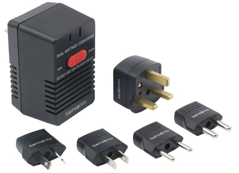 The Samsonite Dual Wattage Travel Converter Kit has six pieces