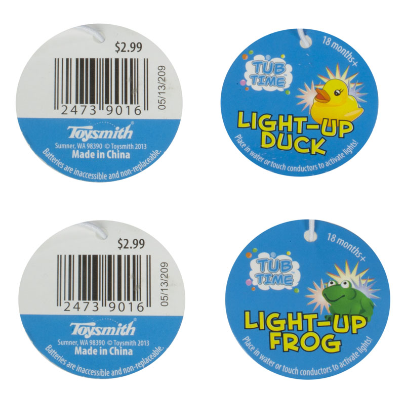 Round tag attached to product