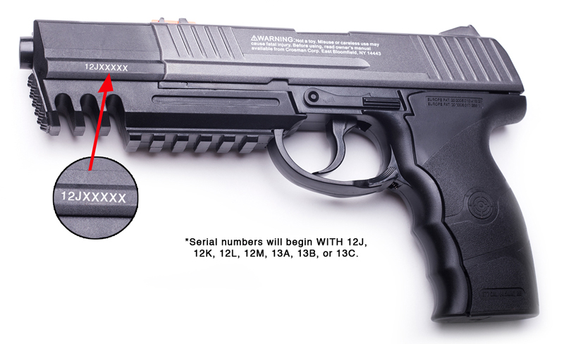 image of Crosman Semi-automatic Style Air Pistols, model numbers C21, C31 and 9-C31BRM with serial numbers beginning with 12J, 12K, 12L, 12M, 13A, 13B or 13C