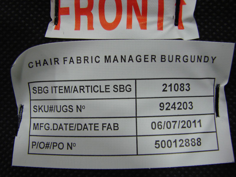 Bermond chair seat cushion tag on the bottom of the seat