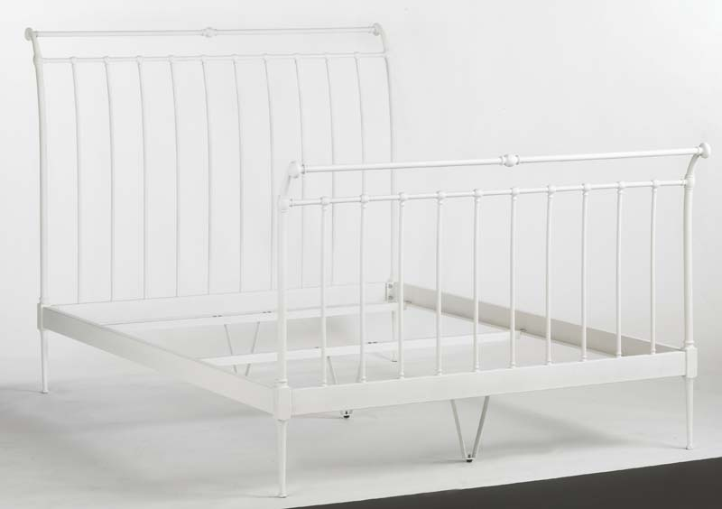 white iron sleigh bed frame