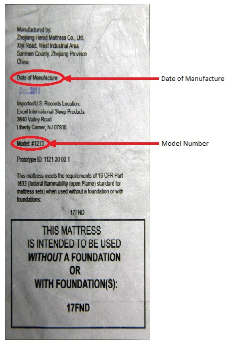 Federal tag on recalled SlumberWorld mattresses