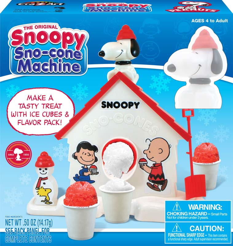The box that contains the Cra-Z-Art Snoopy sno-cone machine