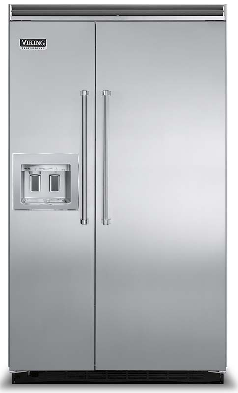 42 and 48  inch Viking built in side by side refrigerator freezers with in door dispensers