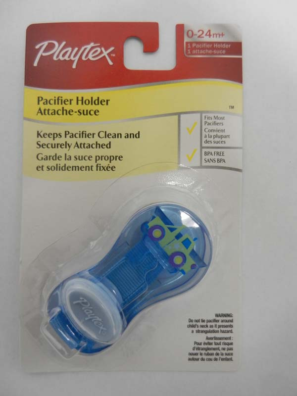 Recalled Playtex blue pacifier holder clip –packaged