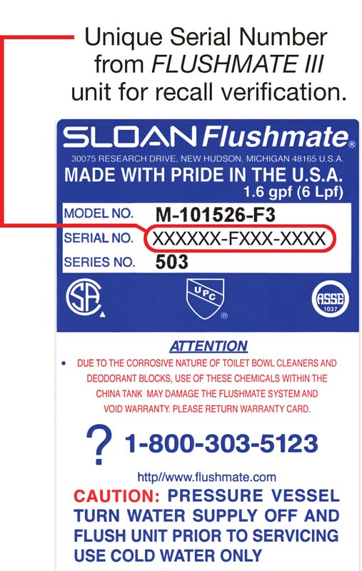 Label with date code and serial number for recalled systems