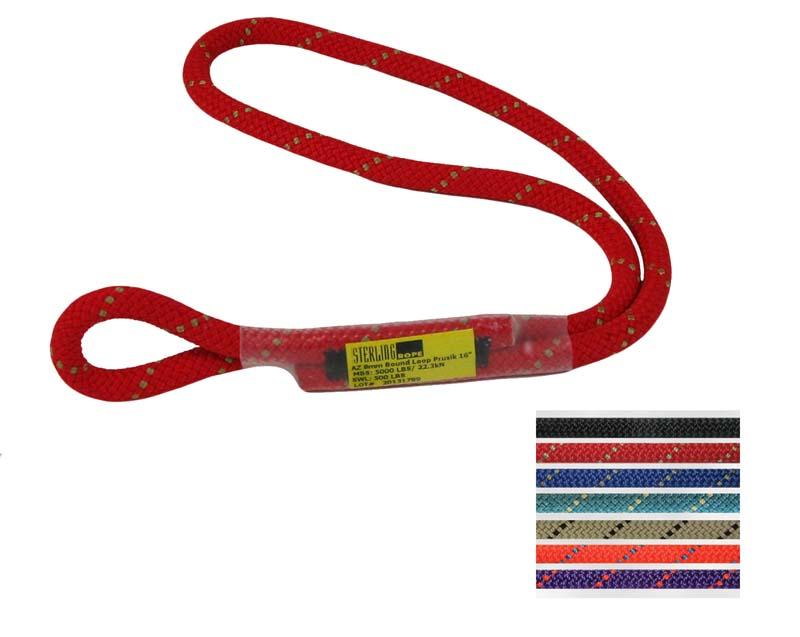 8mm AZ Bound Loop Prusik cord Short Red