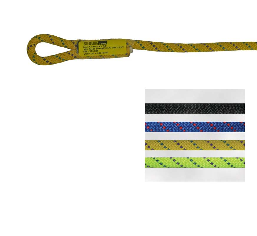 8mm Accessory Cord Sewn Eye Yellow