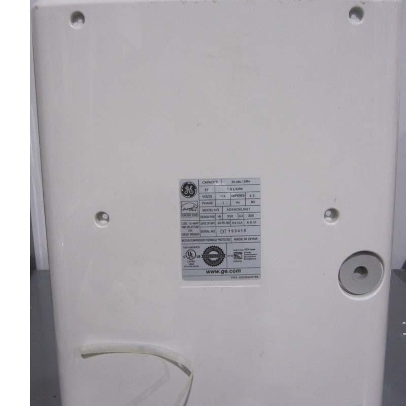 Back of GE Brand Dehumidifier by Midea