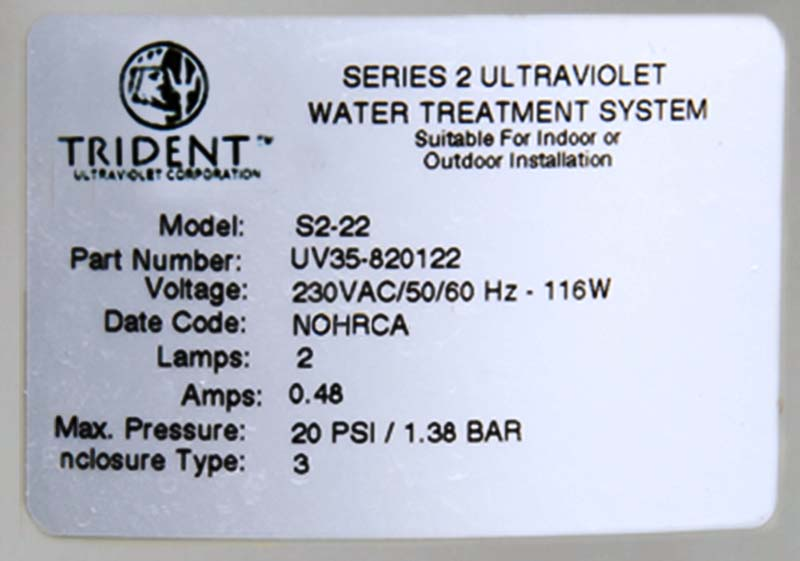 Label on Paramount Trident pool sanitation system