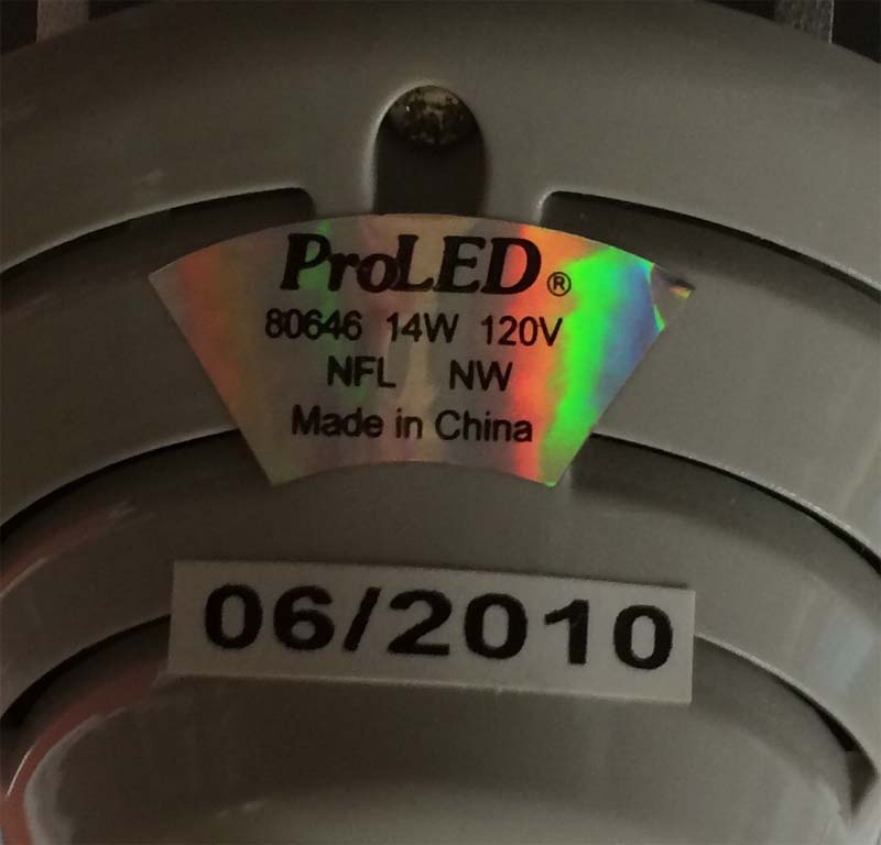 Label on recalled bulbs.