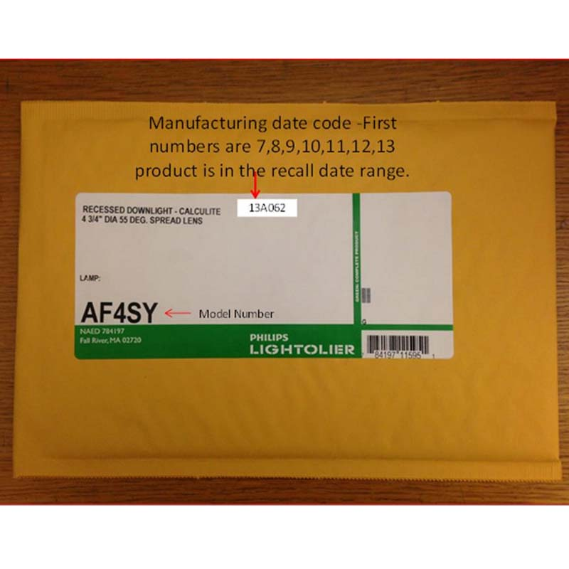 "Packaging for Philips Lighting ""Lightolier"" AF4SY Glass Lens"