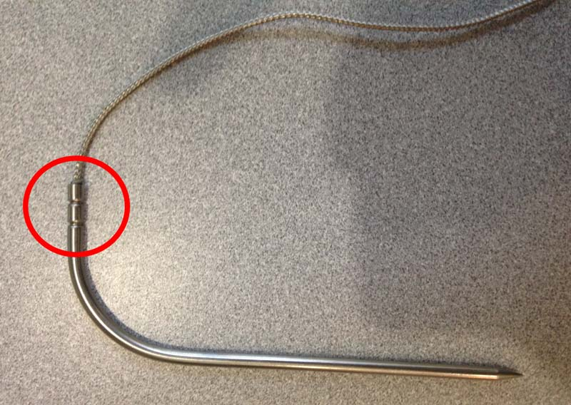 Recalled probes have only two crimps where connected to the braided cable.