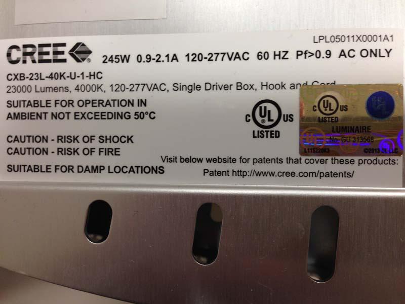 Label on light fixture